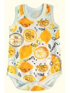 Боди-майка БИ-0707,  интерлок, Buttoni, р.р. 62-86 (5 шт/уп) Лимон/белый*****