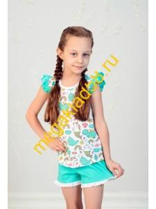Пижама ПФШ-0102, футболка+шорты  д/девочки,  кулирка , р-р 98-128 (6 шт/уп) Динозавр/единорог