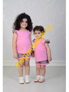 Пижама ПФШ-0103, футболка+шорты  д/девочки,  кулирка , р-р 98-128 (6 шт/уп) Горошек/розовый/кофе