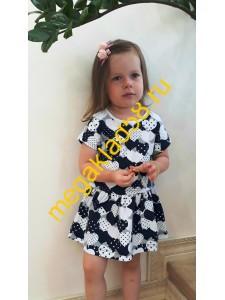 Платье ПК-1499-1, короткий рукав, кулирка с лайкрой, р.р.98-122 (5 шт/уп) Сердечки/темно-синий*****
