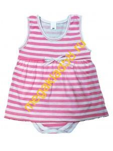 Боди-платье Б-0197, кулирка р.68-86 (4шт/уп) Морячка/розовый*****