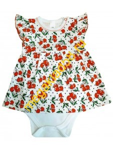 Боди-платье Б-0796, интерлок р.68-86 (4шт/уп) Вишенка/белый*****
