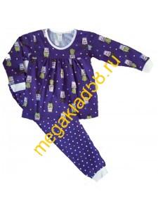 Пижама ПД-0110 девочка кулирка Buttoni р.р 98-122 (5шт/уп) Кактус/синий