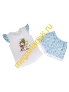 Пижама ПФШ-0105, футболка+шорты  д/девочки,  кулирка , р-р 98-128 (6 шт/уп) Листик/белый