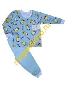 Пижама ПМ-0143,  кулирка, р.р.92-128 (7 шт/уп) Собаки/голубой