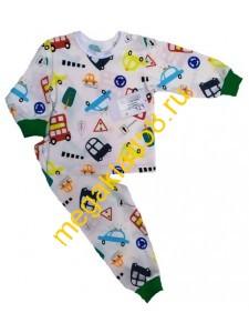 Пижама ПК-0105, кнопка плечо, кулирка, р.р.74-98 (5 шт/уп) Автобусы/бежевый