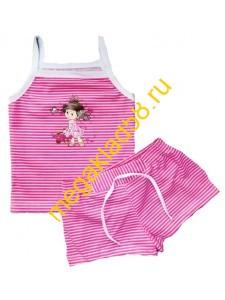 Комплект КМШ-0146 (майка-топ+шорты) кулирка, р.р.98-122 (5 шт/уп) розовый*****