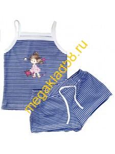 Комплект КМШ-0146 (майка-топ+шорты) кулирка, р.р.98-122 (5 шт/уп) синий*****