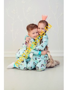 Пижама ПК-0122 кулирка Buttoni р.р 92-122 (6 шт/уп) Панда/ментол