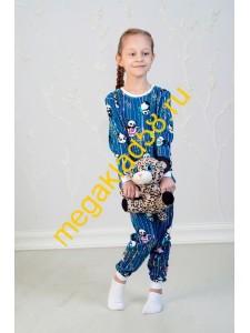Пижама ПК-0122 кулирка Buttoni р.р 92-122 (6 шт/уп) Панда/графит