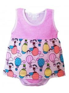 Боди-платье Б-0198, кулирка р.68-86 (4шт/уп) Воздушные шары/розовый
