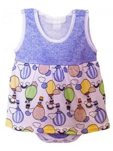Боди-платье Б-0198, кулирка р.68-86 (4шт/уп) Воздушные шары/голубой