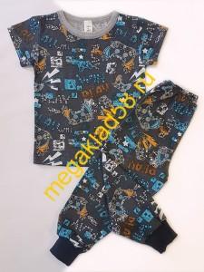 Пижама ПК-0105, кнопка плечо, кулирка, р.р.74-98 (5 шт/уп) Воздушные шары/голубой