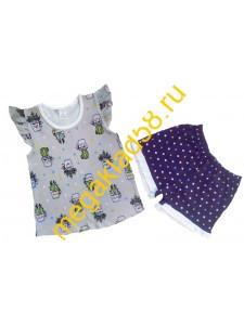 Пижама ПФШ-01-01, футболка+шорты  д/девочки, кулирка, р-р 98-128 (6шт/уп) Кактус/бежевый