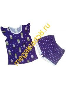 Пижама ПФШ-01-01, футболка+шорты  д/девочки, кулирка, р-р 98-128 (6шт/уп) Кактус/синий