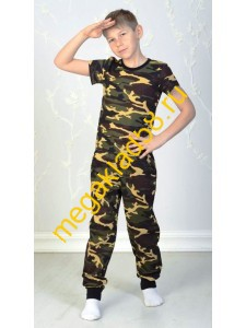 Брюки БК-0156 Спорт , кулирка, LTL, р.р.122-140 (4 шт/уп) Хаки/желтый*****