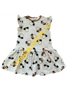 Платье П-1428 , кулирка с лайкрой, Buttoni р.р. 86-104 (4шт/уп) Бантик/коричневый*****