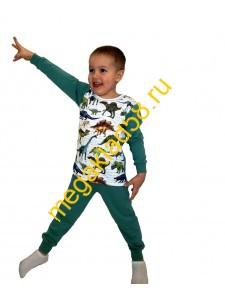 Пижама ПК-0121-22 кулирка/интерлок Buttoni р.р 92-122 (6 шт/уп)  Динозавр/зеленый*****