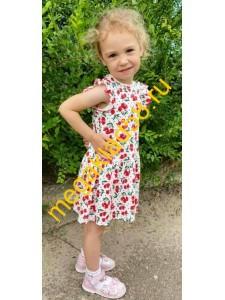 Платье П-0727 короткий рукав, интерлок, р.р. 86-104 (4шт/уп) Вишенка/белый*****