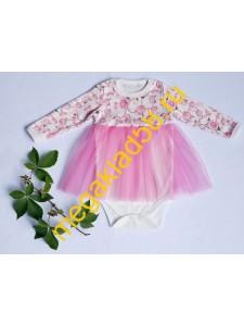 Боди-платье Б-0800 фатин, дл.рукав, интерлок р.р 62-86 (5 шт/уп) *****