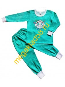 Пижама ПК-0120 Принт, кулирка Buttoni р.р 92-122 (6 шт/уп)  Горошек/ментол*****