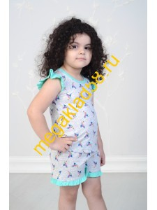 Пижама ПФШ-0104, футболка+шорты  д/девочки,  кулирка , р-р 98-128 (6 шт/уп) Птички/серый меланж