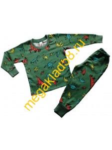 Пижама ПФ-0206 , футер, р.р.92-122 (6 шт/уп) Динозаврики/зеленый*****