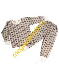 Пижама ПК-0119 , кулирка, р.р 86-110 (5 шт/уп)  Совы/серый меланж*****